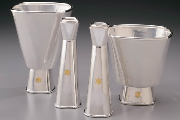 Gold Star Kiddush Cups and Candle Holders